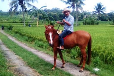 Aripin Mantan Kades Nglegi Patuk :  Menguji Andrenalin  Kesengsem Naik Kuda ' Terus Dukung Wisata Berkuda  Ngoro-oro  Untuk Pemberdayaan